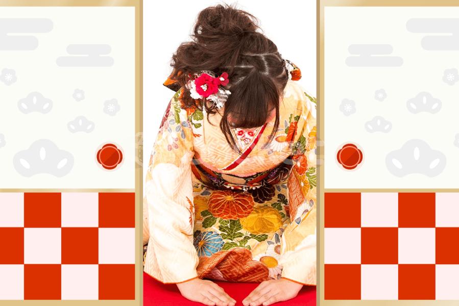 襖のイラストアニメーション 和風(お正月・新年)