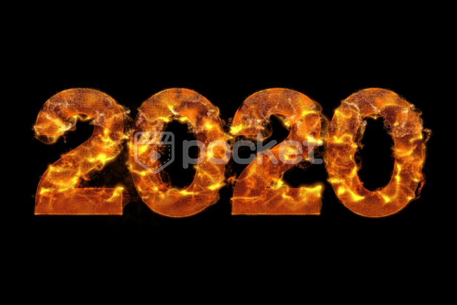 2020年用 炎に包まれ燃える文字