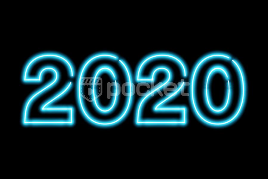 2020年用(ネオンサイン風)青い文字