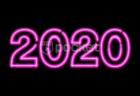 2020年用 ネオンサイン風ピンクの文字
