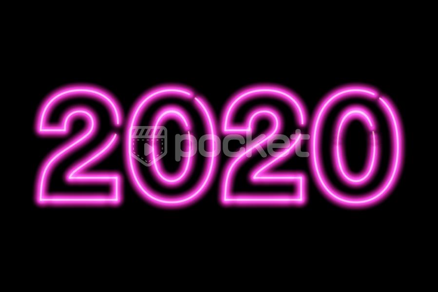 2020年用(ネオンサイン風)ピンクの文字