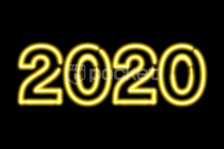 2020年用 ネオンサイン風 黄色の文字
