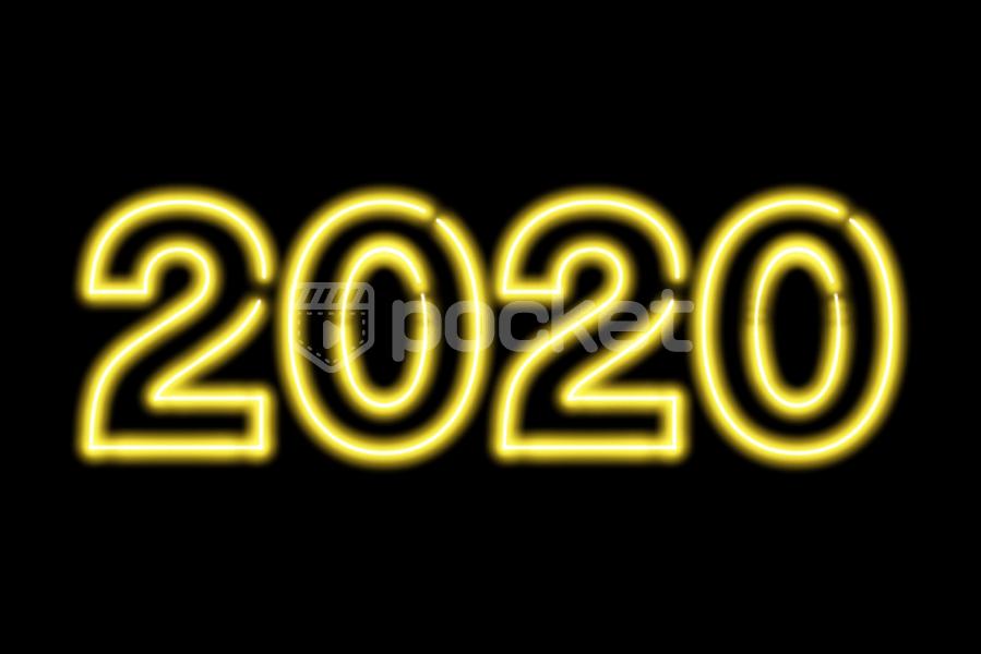 2020年用(ネオンサイン風)黄色の文字