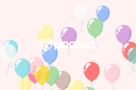 カラフルな風船が空へと飛んでいくアニメーション無料素材|ビデオポケット