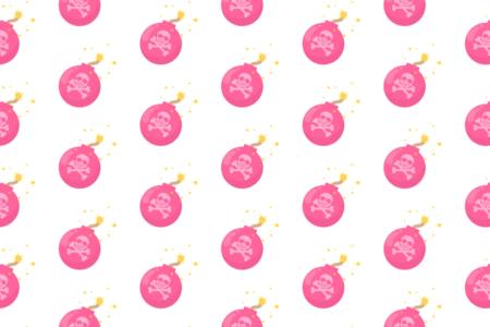 爆弾イラストアニメーション無料フリー素材-ピンク