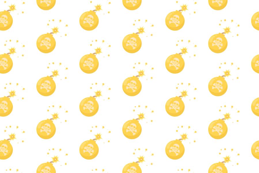 爆弾イラストアニメーション背景-黄色