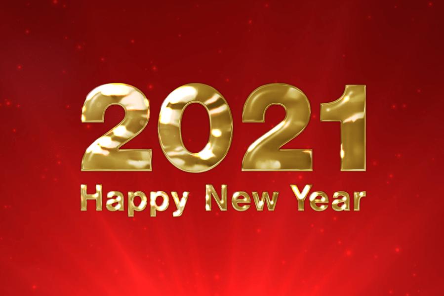 2021年 ハッピーニューイヤー 金色キラキラ動画素材